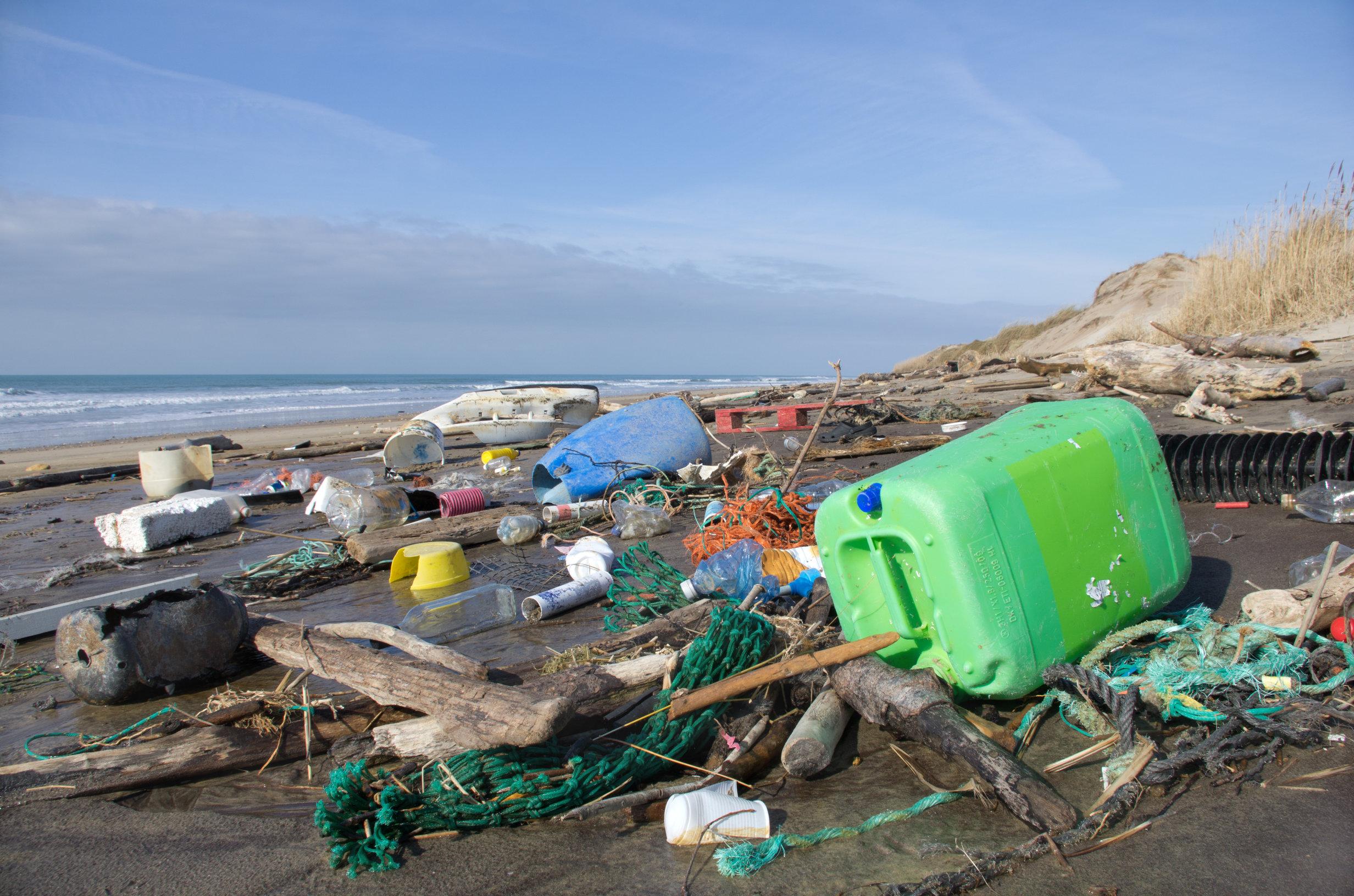 pollution, plage, océan, plastique
